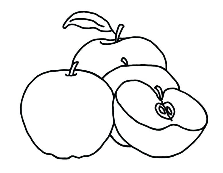 Hình vẽ đen trắng quả táo cho bé tô màu (2)