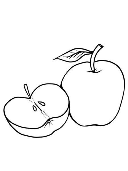 Hình vẽ đen trắng quả táo cho bé tô màu (3)
