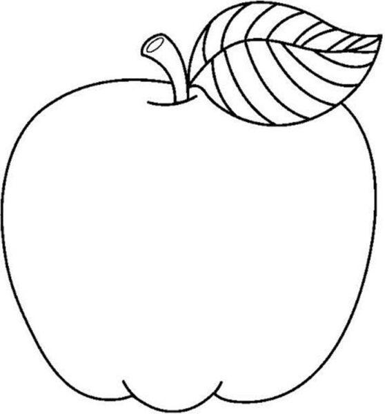 Hình vẽ đen trắng quả táo cho bé tô màu (5)