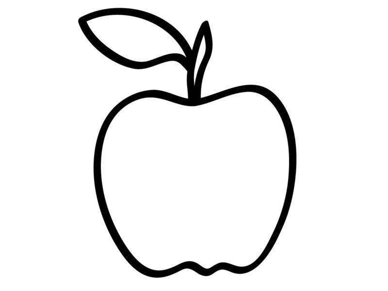 Hình vẽ đen trắng quả táo cho bé tô màu (6)