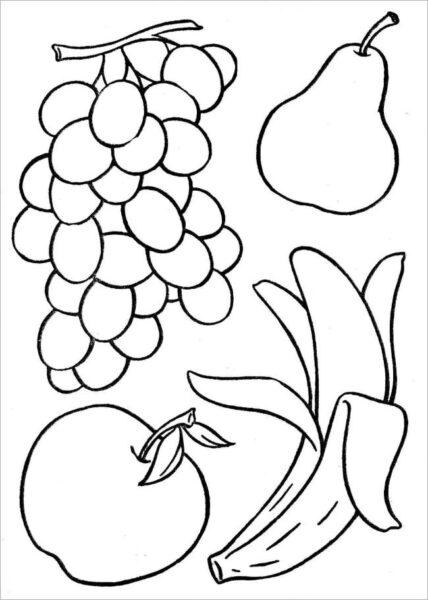 Hình vẽ đen trắng rau củ quả cho bé tô màu (1)