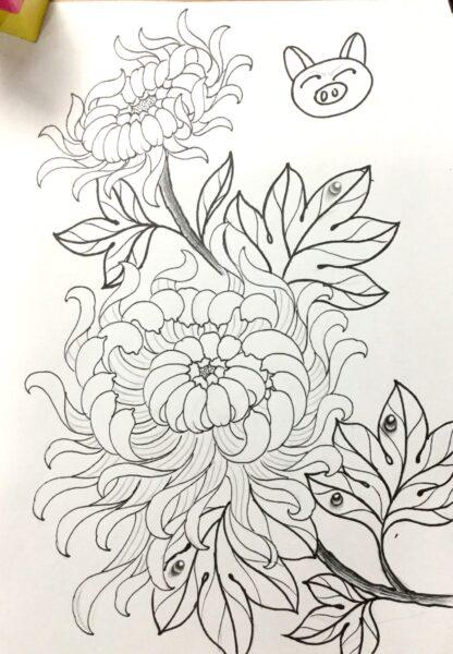 Hình vẽ tập tô hoa cúc (1)