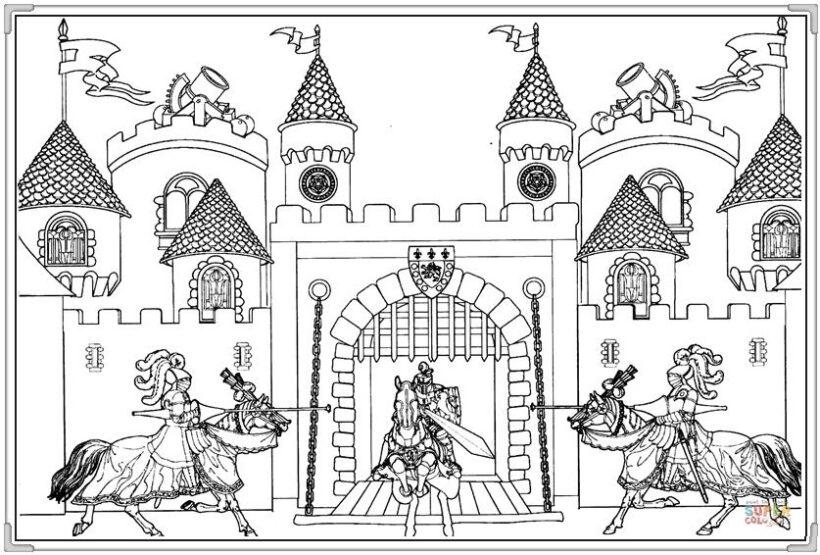 Hình vẽ tập tô lâu đài cho bé tô màu (2)