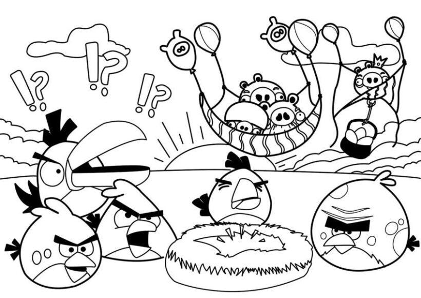 Mẫu tranh tô màu Angry Birds dễ thương cho bé tập tô (4)
