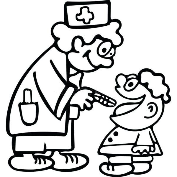 Mẫu tranh tô màu bác sĩ đẹp nhất cho bé tập tô (3)