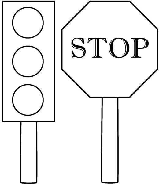 Mẫu tranh tô màu biển báo giao thông cho bé tô màu (1)