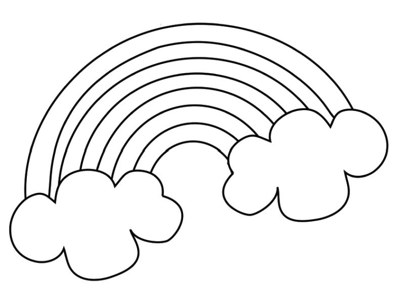 Mẫu tranh tô màu cầu vồng dễ thương cho bé tập tô (2)