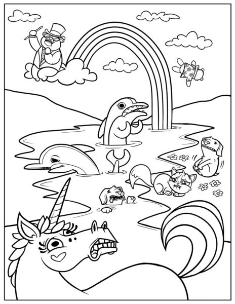 Mẫu tranh tô màu cầu vồng dễ thương cho bé tập tô (3)