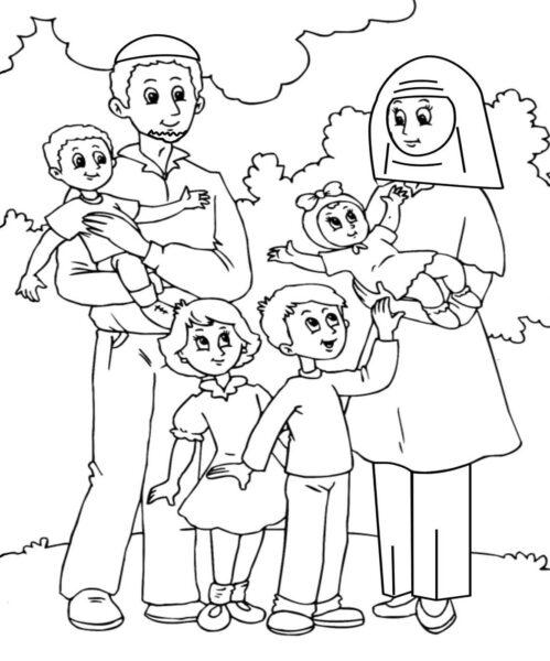 Tổng hợp các bức tranh tô màu gia đình đẹp