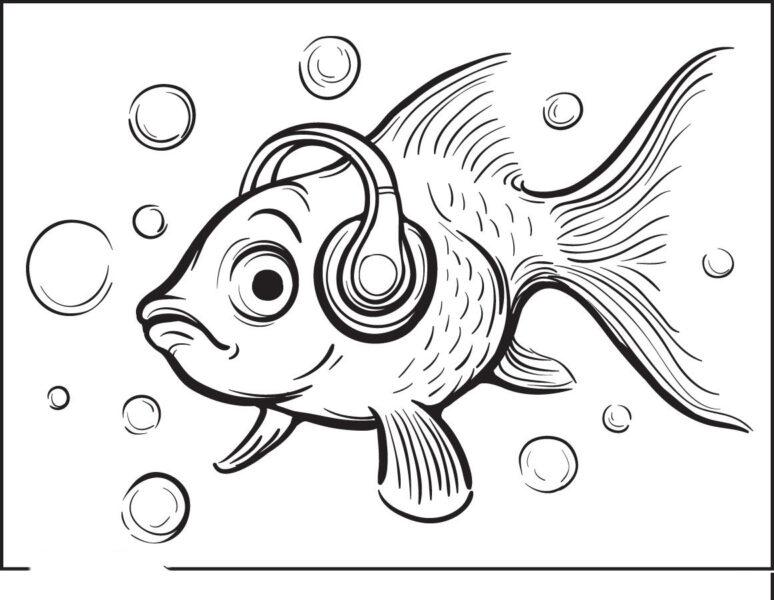Tổng hợp các bức tranh tô màu con cá vàng đẹp nh