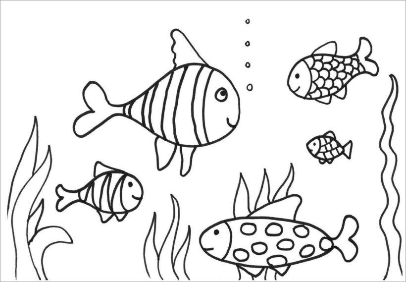 Mẫu tranh tô màu chú cá vàng đẹp cho bé tập tô (2)