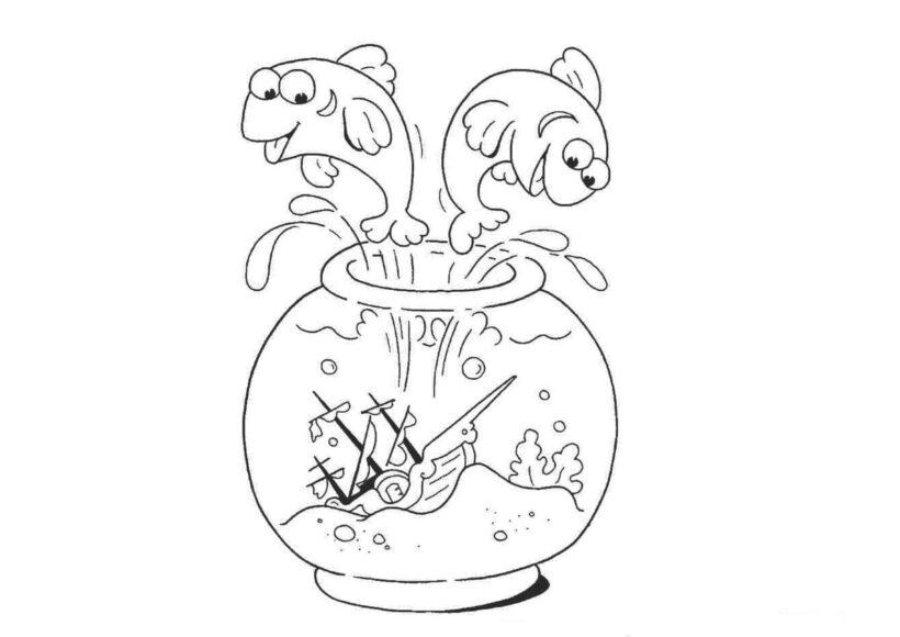 Mẫu tranh tô màu chú cá vàng đẹp cho bé tập tô (5)