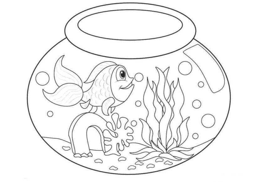 Mẫu tranh tô màu chú cá vàng đẹp cho bé tập tô (6)