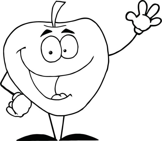 Mẫu tranh tô màu quả táo đơn giản cho bé tập tô (2)