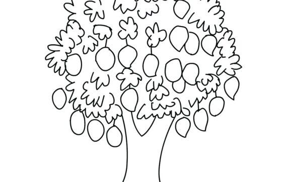 Mẫu tranh tô màu quả xoài cho bé học tập tô (1)