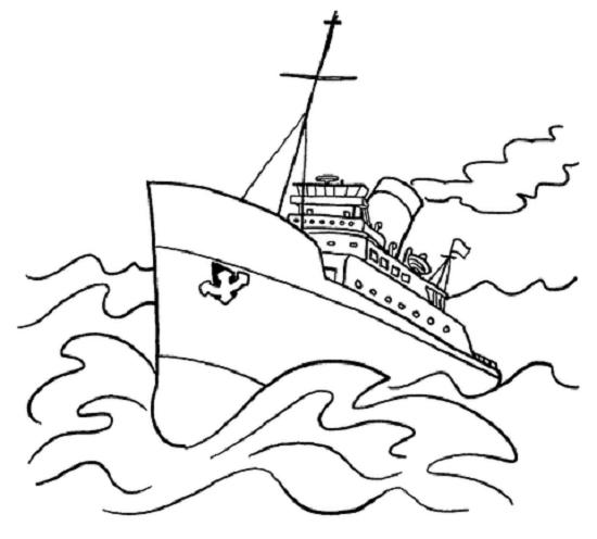 Mẫu tranh tô màu tàu thuỷ đẹp nhất cho bé tập tô (1)