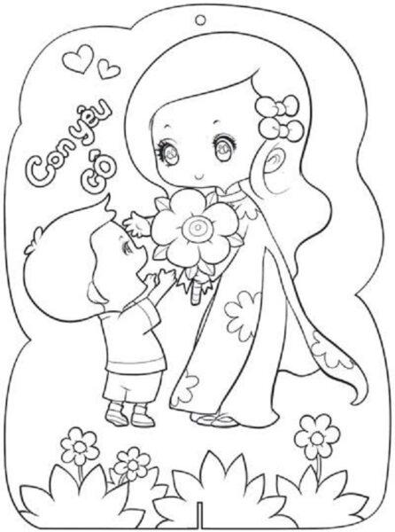 Mẫu tranh vẽ 20-11 cho bé tập tô (2)