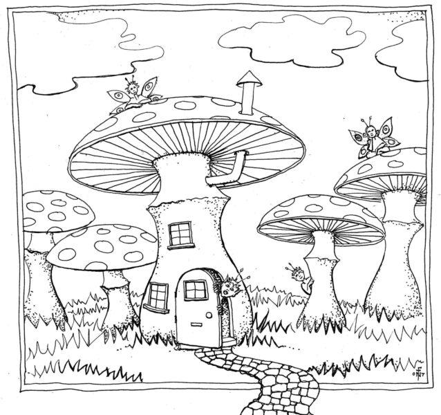 Mẫu tranh vẽ cây nấm cho bé tô màu (2)