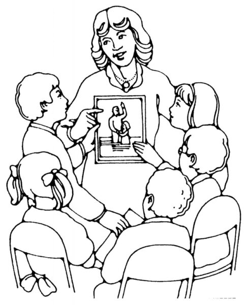 Những tranh tô màu cô giáo và học sinh đẹp nhất cho bé tập tô (2)