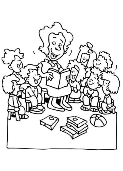 Những tranh tô màu cô giáo và học sinh đẹp nhất cho bé tập tô (3)