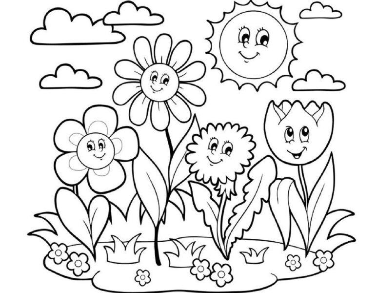 Những tranh tô màu hoa hướng dương cho bé tập tô (3)
