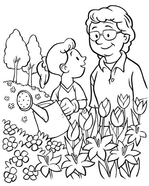 Những tranh tô màu ông bà đẹp nhất cho bé tập tô (8)