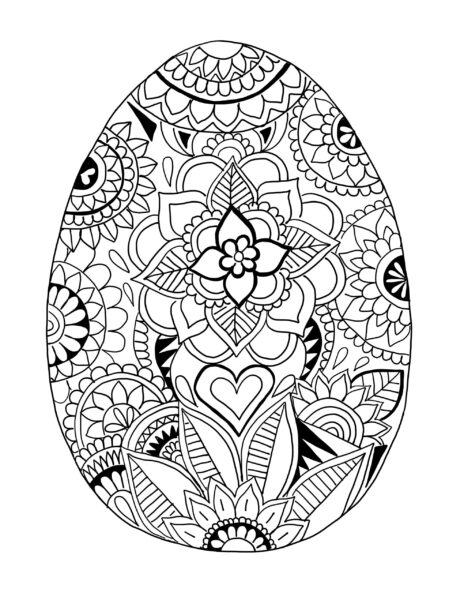 Những tranh tô màu quả trứng đơn giản cho bé tập tô (7)