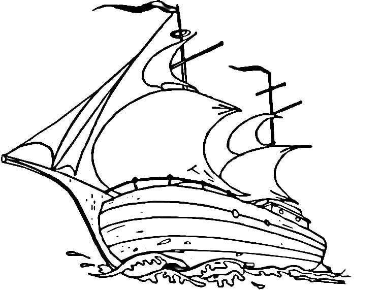 Những tranh tô màu thuyền buồm đẹp nhất cho bé tập tô (1)
