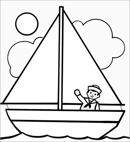 Những tranh tô màu thuyền buồm đẹp nhất cho bé tập tô (3)