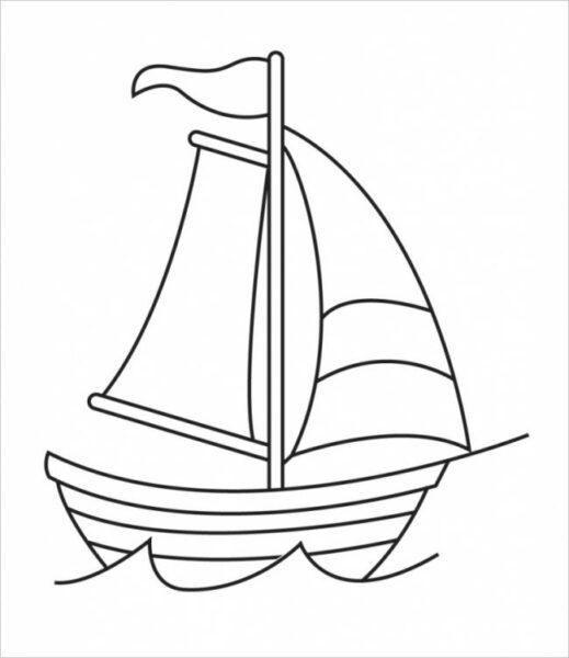 Những tranh tô màu thuyền buồm đẹp nhất cho bé tập tô (4)