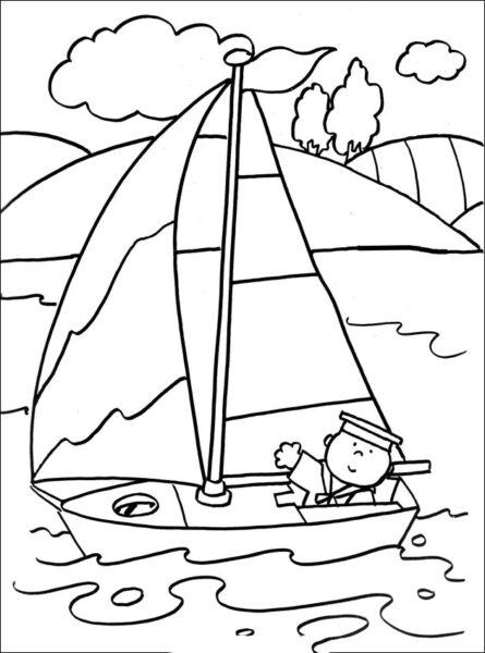 Những tranh tô màu thuyền buồm đẹp nhất cho bé tập tô (5)