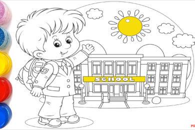 Tranh tô màu bé đi học đẹp nhất