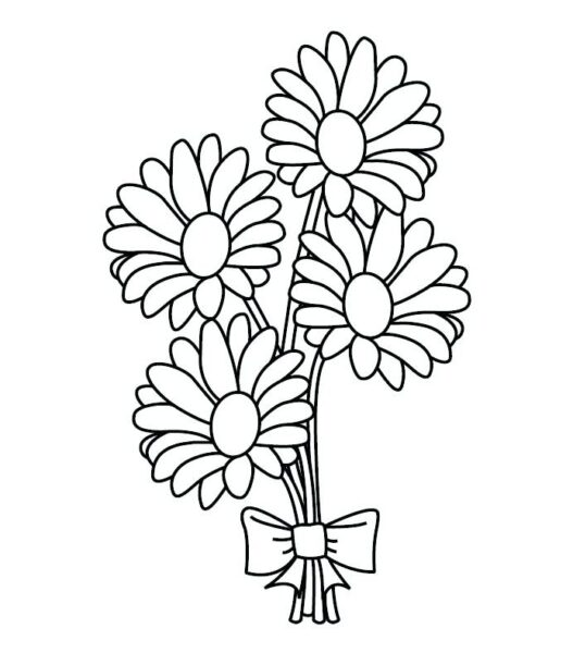 Tranh tô màu bó hoa