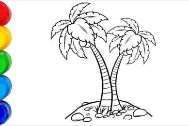 Tranh tô màu cây dừa đẹp nhất