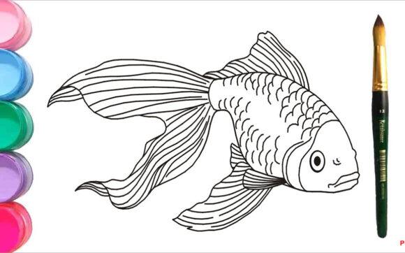 Tranh tô màu chú cá vàng đẹp nhất