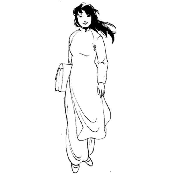 Tranh tô màu cô giáo mặc áo dài