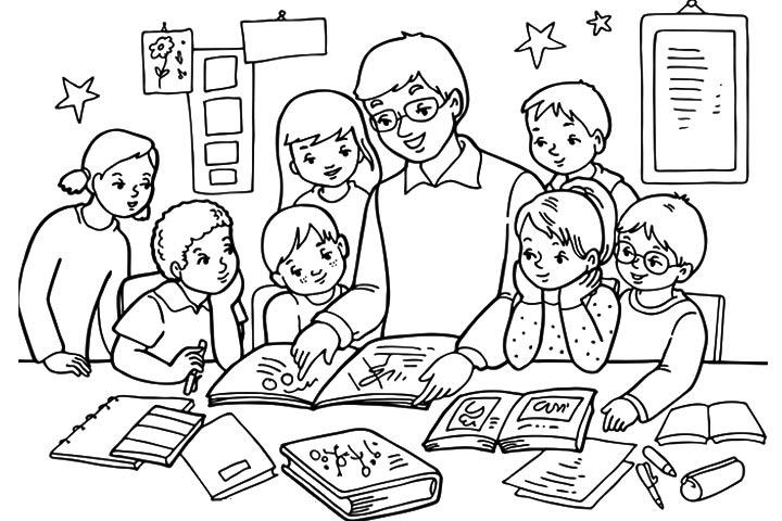 Tranh tô màu cô giáo và học sinh đẹp nhất cho bé tập tô (28)