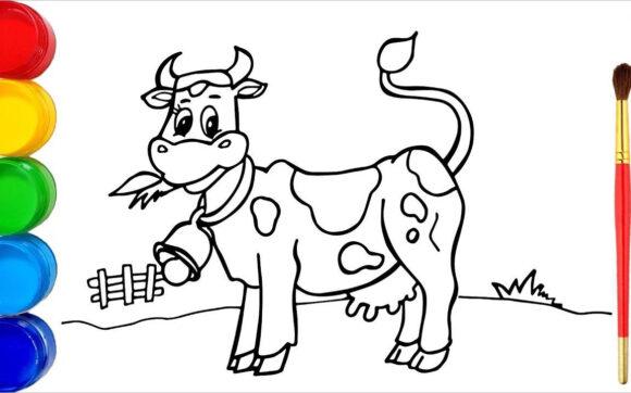 Tranh tô màu con bò đẹp nhất