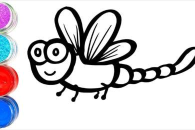 Tranh tô màu con chuồn chuồn đẹp nhất