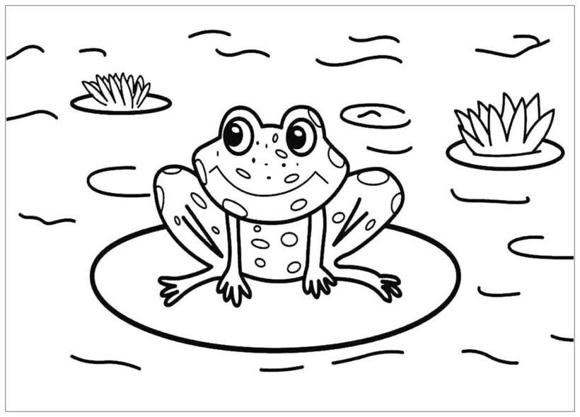 Tranh tô màu con ếch đẹp nhất cho bé tập tô (26)