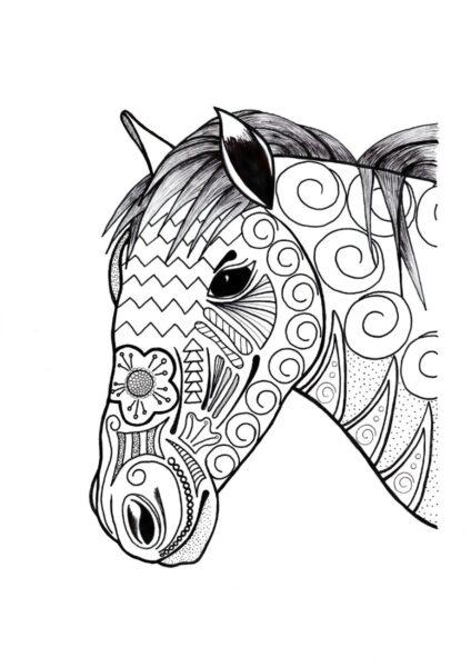 Tranh tô màu con ngựa đẹp nhất cho bé tập tô (25)