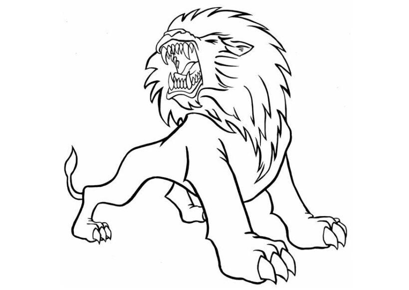 Tranh tô màu con sư tử đẹp nhất cho bé tập tô (11)