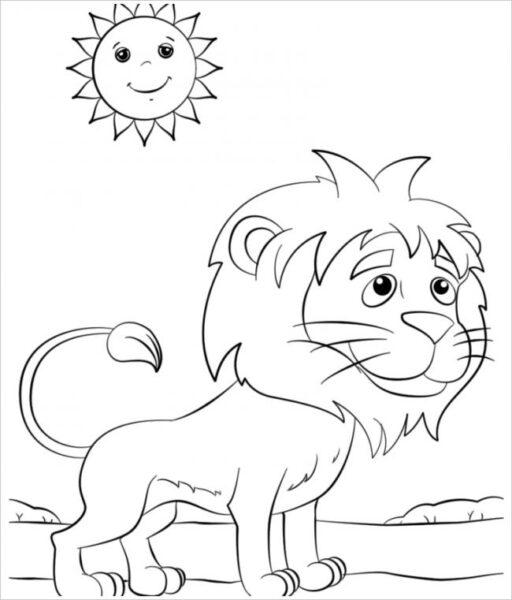 Tranh tô màu con sư tử đẹp nhất cho bé tập tô (26)