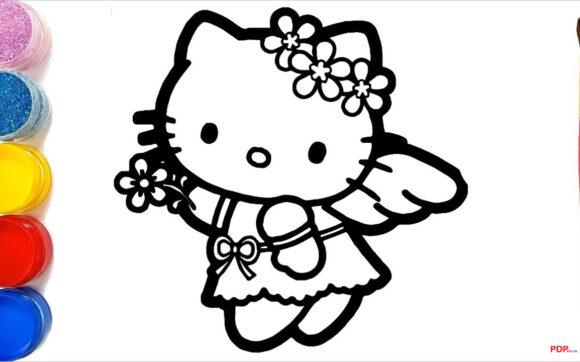 Tranh tô màu Hello Kitty đẹp nhất