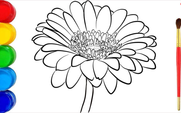 Tranh tô màu hoa cúc đẹp nhất