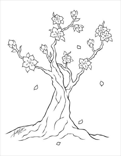 Tranh tô màu hoa mai đẹp cho bé tập tô (11)