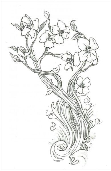 Tranh tô màu hoa mai đẹp cho bé tập tô (9)
