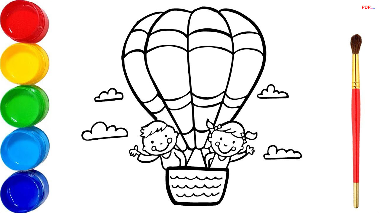 36+ Tranh tô màu khinh khí cầu đẹp nhất cho bé tập tô