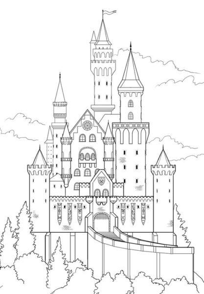 Tranh tô màu lâu đài đẹp nhất cho bé tập tô (33)