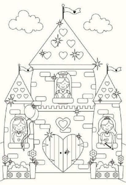 Tranh tô màu lâu đài đẹp nhất cho bé tập tô (34)